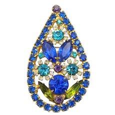 "Vintage Juliana Blue Purple Rhinestone ""Bold Flower"" Pendant Brooch Book Reference"