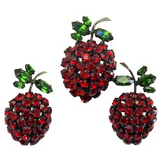 Vintage Schreiner Red Rhinestone Strawberry Brooch Earrings Book Piece