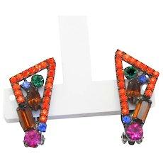 Vintage Juliana Orange Neon Geometric Rhinestone Earrings Book Piece