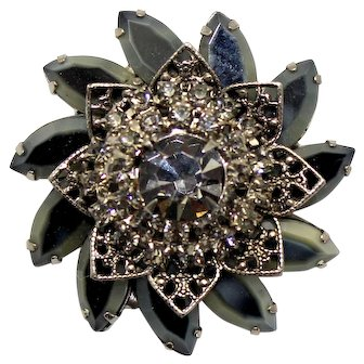 Vintage Juliana Black Gray Two toned rhinestone Filigree Brooch Book Reference