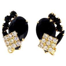 Vintage Juliana Black Rhinestone Clear Square Overlay Earrings