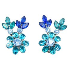 Vintage Schreiner Blue and Teal Rhinestone Flower Ear Climber Earrings
