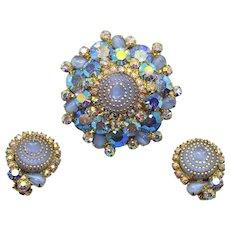Vintage Juliana Blue Gold Rhinestone Birthday Cake Brooch Earrings Demi Parure Book Piece
