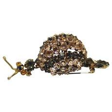 Vintage Schreiner Black Diamond Topaz Clear Rhinestone Figural Snail Brooch Book Piece