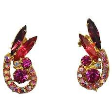 Vintage Juliana Amethyst and Fuchsia Pink Rhinestone Earrings