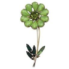 Vintage Green Moonstone and Rhinestone Flower Brooch