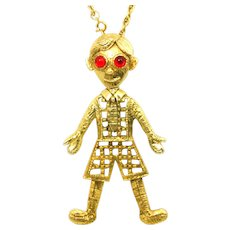 Vintage Juliana for Stanger School boy or Jack and Jill Puppet Pendant Necklace Book Piece