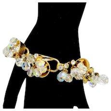 Vintage Juliana Clear AB Crystal Bead, Rhinestone Half Cup Bracelet Book Piece