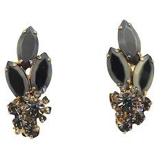 Vintage Juliana Black Gray Two Toned Rhinestone Earrings Book Piece