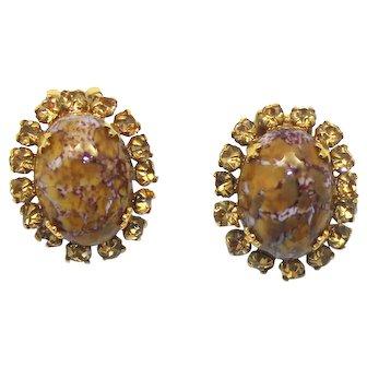 Vintage Schreiner Marbled Topaz Cabochon Topaz Rhinestone Earrings