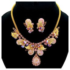 Vintage Juliana Marbled Pink Cabochons, Metal Leaf and Pink Rhinestone Necklace, Earrings Demi Parure