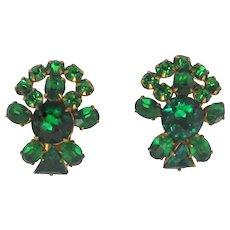 Vintage Schreiner Green Rhinestone Earrings