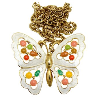 Vintage Juliana White Enamel and Epoxy Butterfly Brooch or Necklace Book Piece