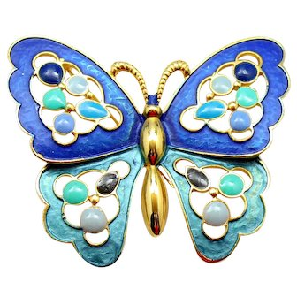 Vintage Juliana Book Piece Blue Enamel and Epoxy Butterfly Brooch or Necklace
