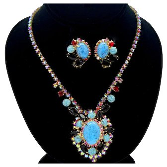 Vintage Juliana Turquoise Cabochon Black Red and AB Rhinestone Necklace Earrings Demi Parure Book Piece