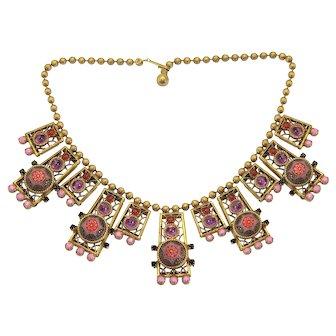 Vintage Juliana Pink Purple Moroccan Matrix Rhinestone Ball Chain Necklace Book Piece