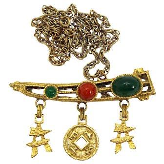 Vintage Juliana Carnelian and Jade Plastic Cabochon Asian Sword Pendant Necklace