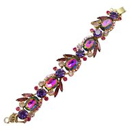 Vintage Juliana Purple Amethyst Watermelon Rhinestone Bracelet Book Piece