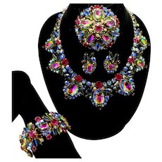 Vintage Juliana Watermelon Fuchsia Blue Green Rhinestone Bib necklace, bracelet, brooch earrings Grand Parure Book Piece