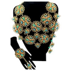 Vintage Juliana for KJL Looped Metal Daisy Flower Faux Jade Coral Turquoise Cabochon Rhinestone Bib Necklace Dangle Earrings Clamper Bracelet Ring Parure