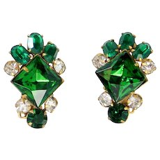Vintage Schreiner Green and Clear Rhinestone Earrings