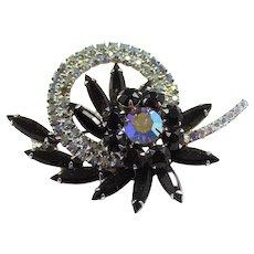 Vintage Juliana Black AB Rhinestone Circle Flower Brooch