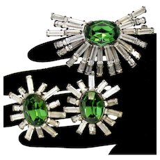 Vintage Schreiner Clear Baguette Green Rhinestone Starburst Brooch Earrings Demi Parure
