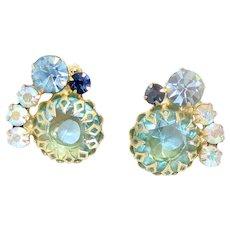 Vintage Juliana Aqua Blue Rhinestone Multi-Prong Earrings Book Reference