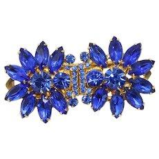 "Vintage Juliana Blue Rhinestone Flower Dress Clip  ""Duette"" Book Piece"