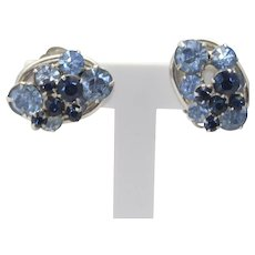 Vintage Juliana Two Colors of Blue Rhinestone Link Earrings Book Piece