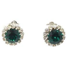 Vintage Headlight Green and Clear Rhinestone Earrings