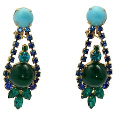Vintage Juliana Turquoise and Green Cabochon, Teal and Blue Rhinestone Dangle Earrings Book Reference