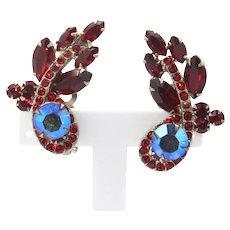 Vintage Juliana Ruby Red Rhinestone Ear Climber Earrings