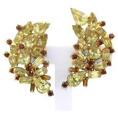 Vintage Huge Yellow and Topaz Rhinestone Ear Climber Earrings