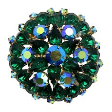 Vintage Green and Blue AB Rhinestone Layered Brooch