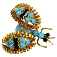 Vintage Turquoise and Black Rhinestone Ribbon Winged Figural Bug Insect Brooch