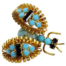 Vintage Turquoise and Black Rhinestone Ribbon Winged Figural Bug Insect
