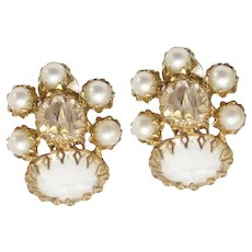 Vintage Schreiner Clear Rhinestone Faux Pearl Earrings