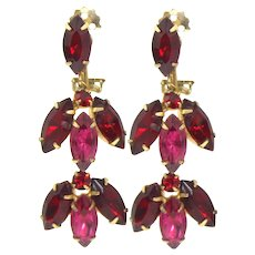 Vintage Red and Fuchsia Pink Rhinestone Dangle Earrings