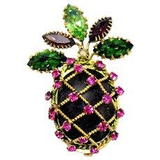 Vintage French Fuchsia Pink Green Amethyst Purple Rhinestone Pineapple Brooch