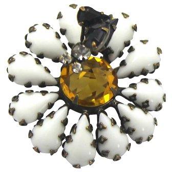 Vintage Schreiner White Topaz Rhinestone Trembler Bug on a Daisy Flower Brooch