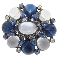 Vintage Schreiner Blue and Clear Jelly Cabochon and Rhinestone Domed Brooch