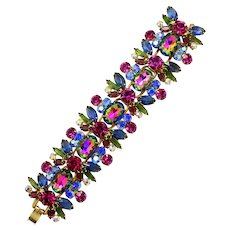 Vintage Juliana Watermelon Fuchsia Blue Green Rhinestone Bracelet Book Piece