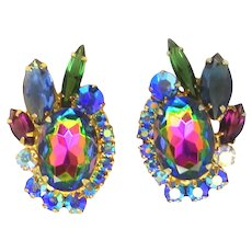 Vintage Juliana Watermelon Fuchsia Blue Green Rhinestone Earrings Book Piece