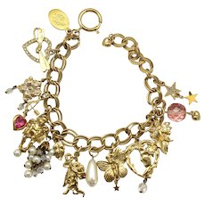 Kirks Folly Valentines Day Hearts Arrows Cherubs Charm Bracelet
