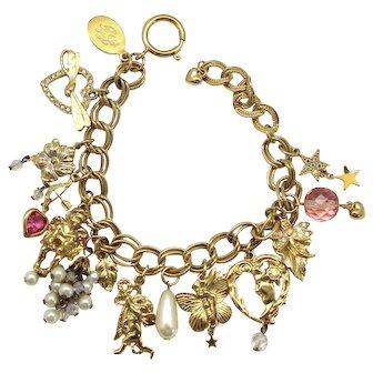 Kirks Folly Valentines Day Hearts Arrows Cherubs Charm Bracelet