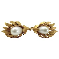 Vintage Crown Trifari Faux Pearl Flower Earrings