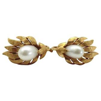 Vintage Crown Trifari Faux Pearl Flower Earrings