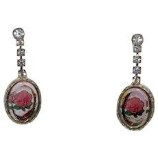 Vintage Juliana Clear Rhinestone Intaglio Rose Cameo Dangle Pierced Earrings