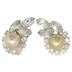 Vintage Juliana Clear Rhinestone Faux Pearl Earrings